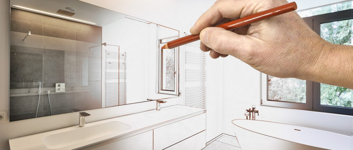 Drawing renovation of a Luxury modern bathroom